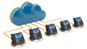 Phones connected via VoIP as a Cloud based PBX.