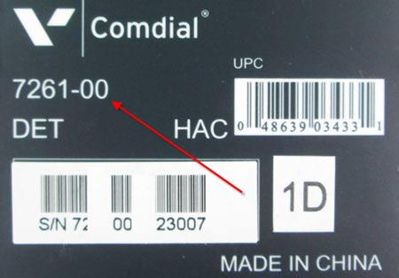 Comdial Edge telephone tag showing the model number.